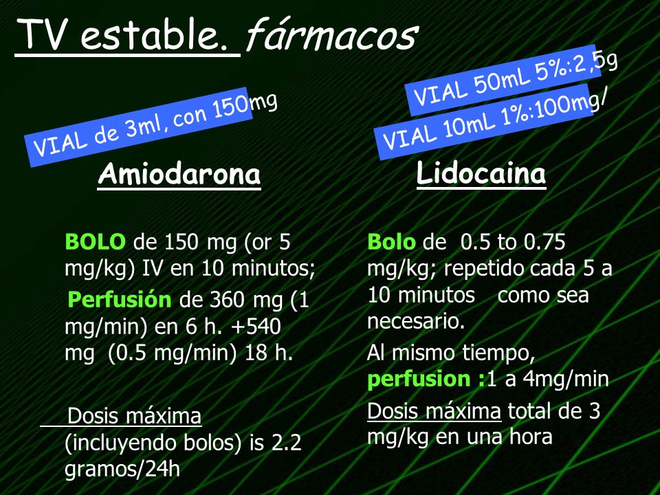 TV estable. fármacos Amiodarona Lidocaina VIAL 50mL 5%:2,5g