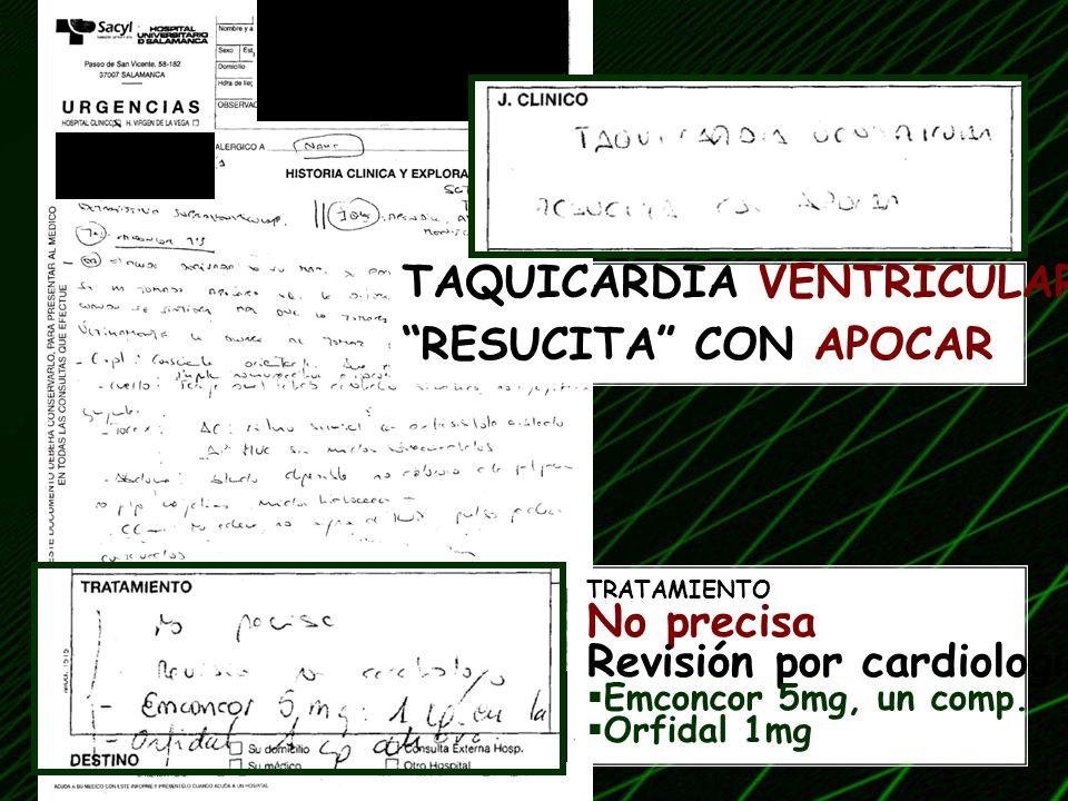 TAQUICARDIA VENTRICULAR RESUCITA CON APOCAR