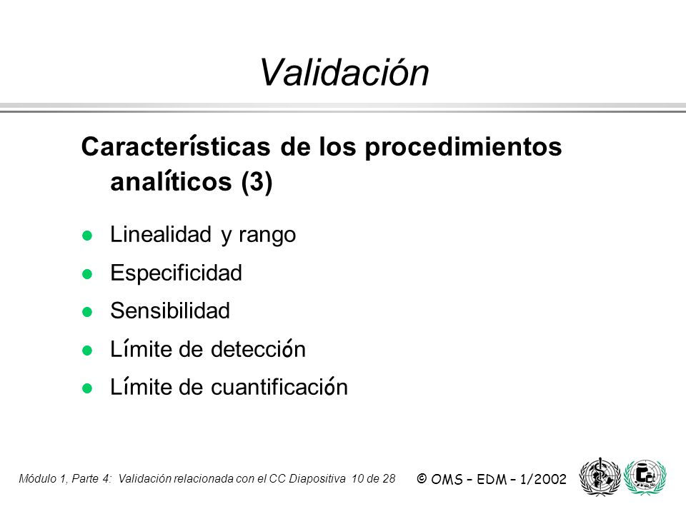 Validación Características de los procedimientos analíticos (3)