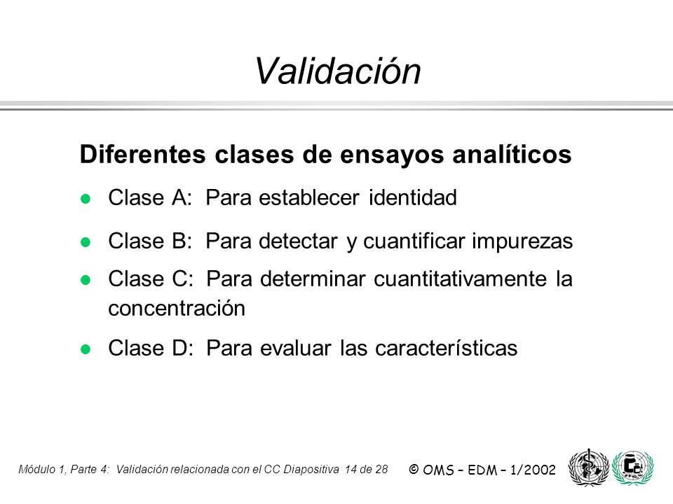 Validación Diferentes clases de ensayos analíticos
