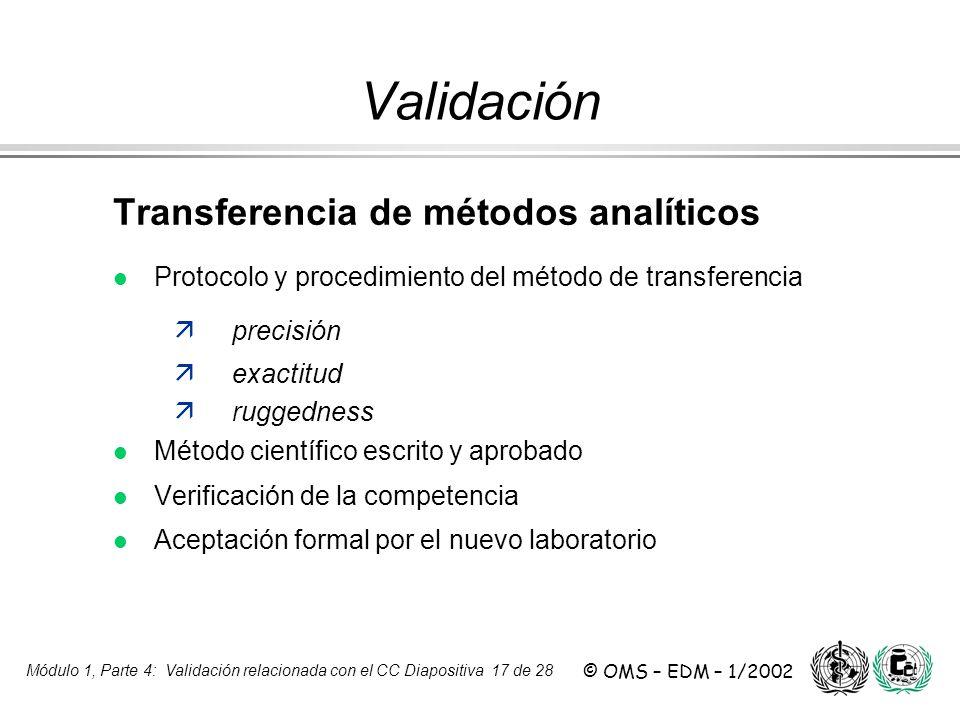 Validación Transferencia de métodos analíticos