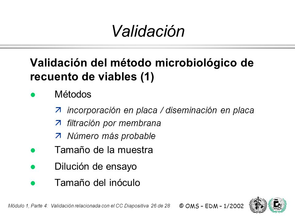 Validación Validación del método microbiológico de recuento de viables (1) Métodos. incorporación en placa / diseminación en placa.