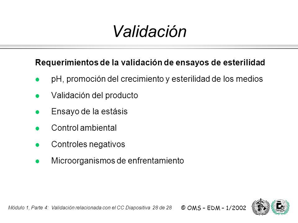 Validación Requerimientos de la validación de ensayos de esterilidad