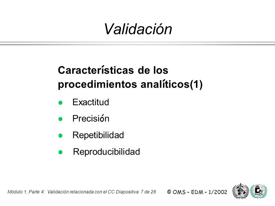 Validación Características de los procedimientos analíticos(1)