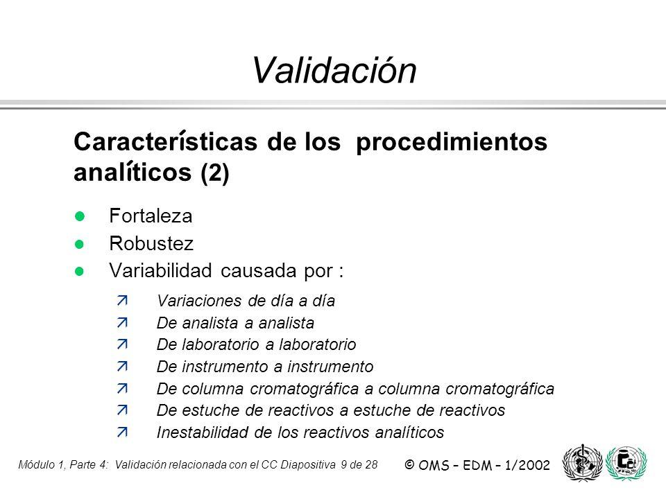 Validación Características de los procedimientos analíticos (2)