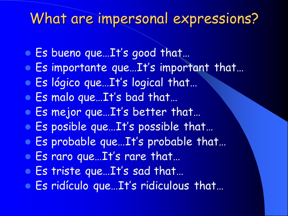 What are impersonal expressions