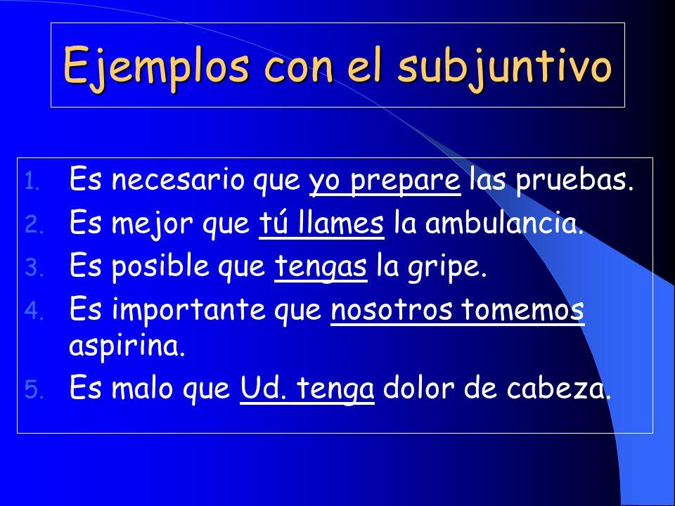Ejemplos con el subjuntivo