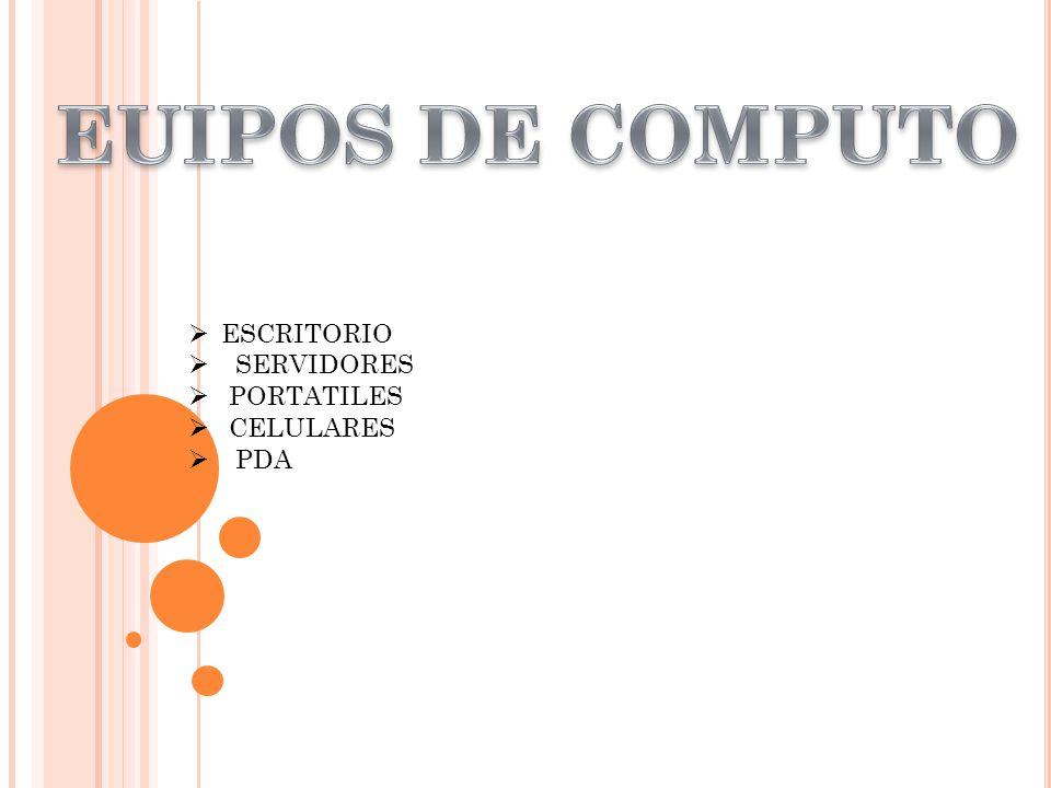 EUIPOS DE COMPUTO ESCRITORIO SERVIDORES PORTATILES CELULARES PDA