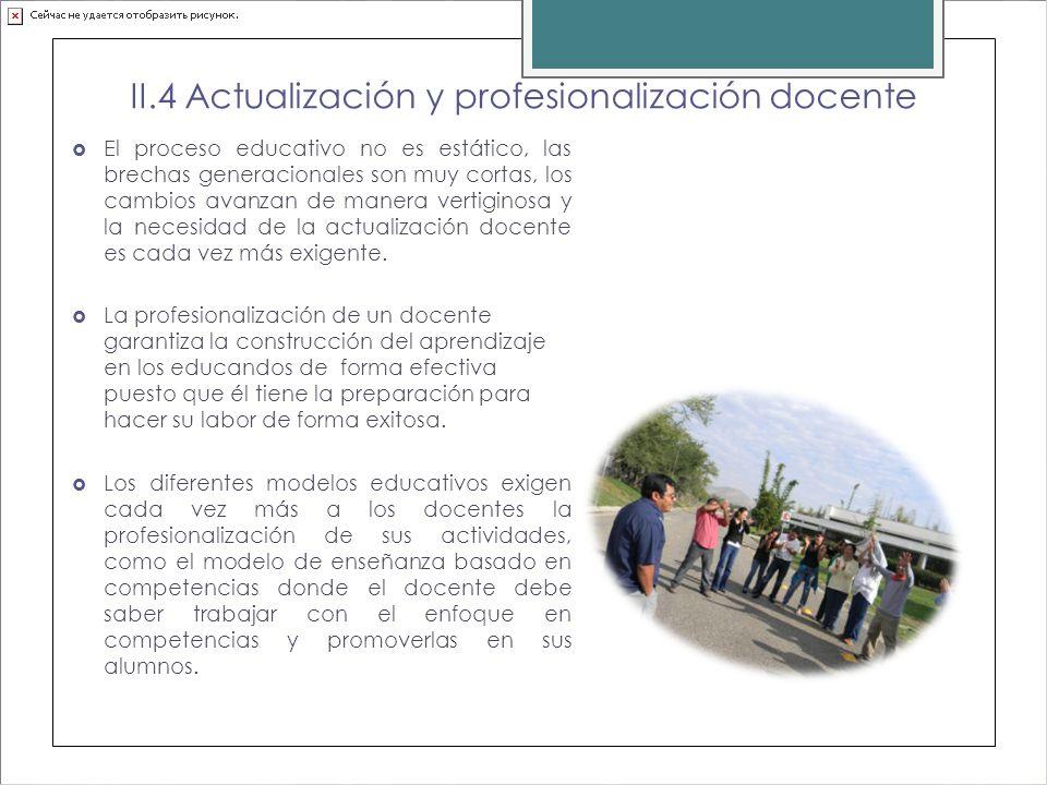 II.4 Actualización y profesionalización docente