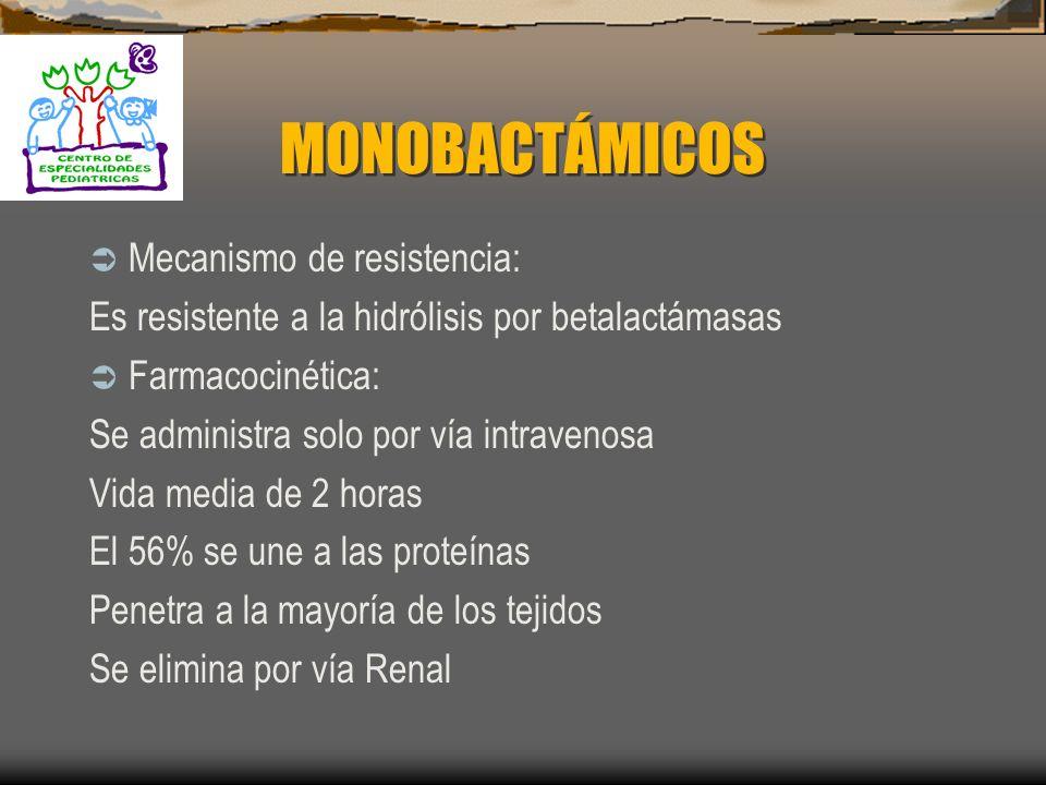 MONOBACTÁMICOS Mecanismo de resistencia: