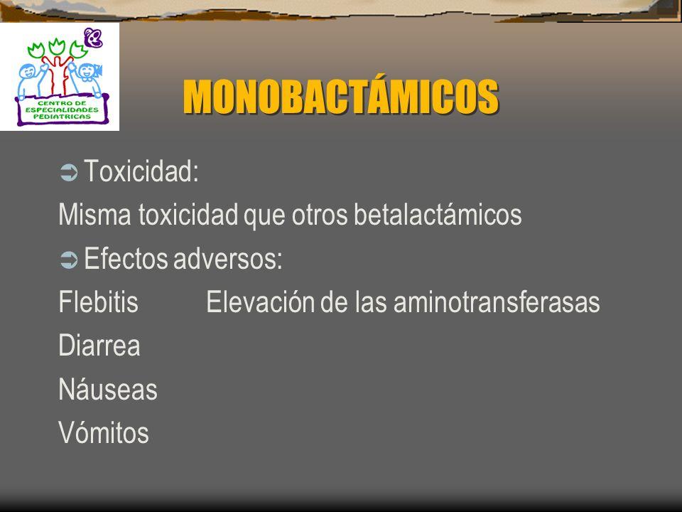 MONOBACTÁMICOS Toxicidad: Misma toxicidad que otros betalactámicos