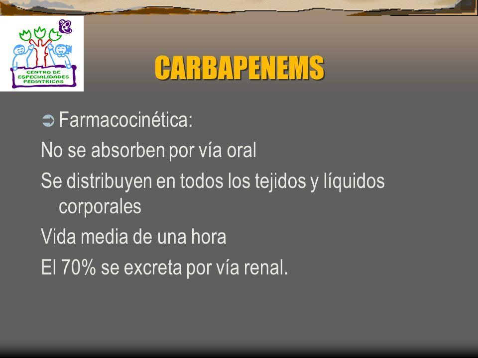 CARBAPENEMS Farmacocinética: No se absorben por vía oral