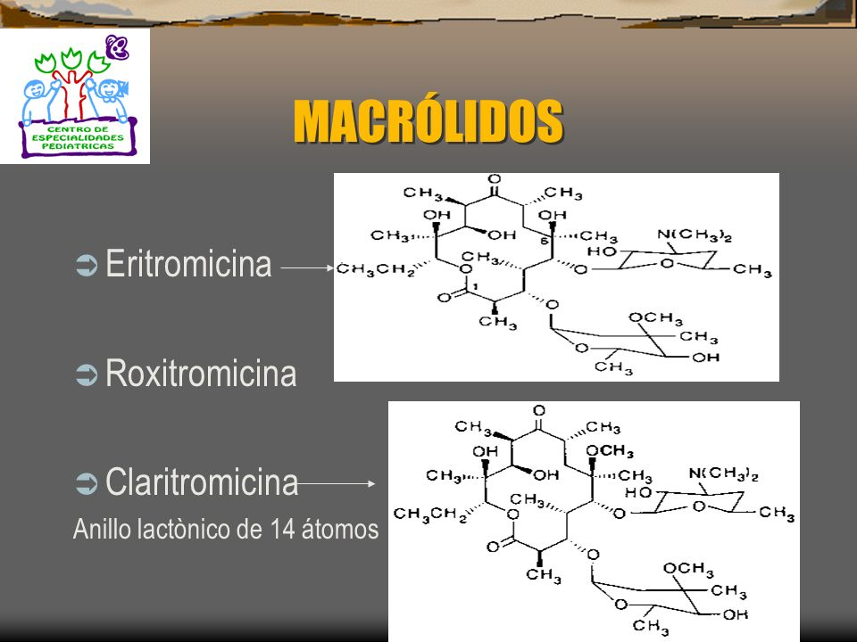 MACRÓLIDOS Eritromicina Roxitromicina Claritromicina