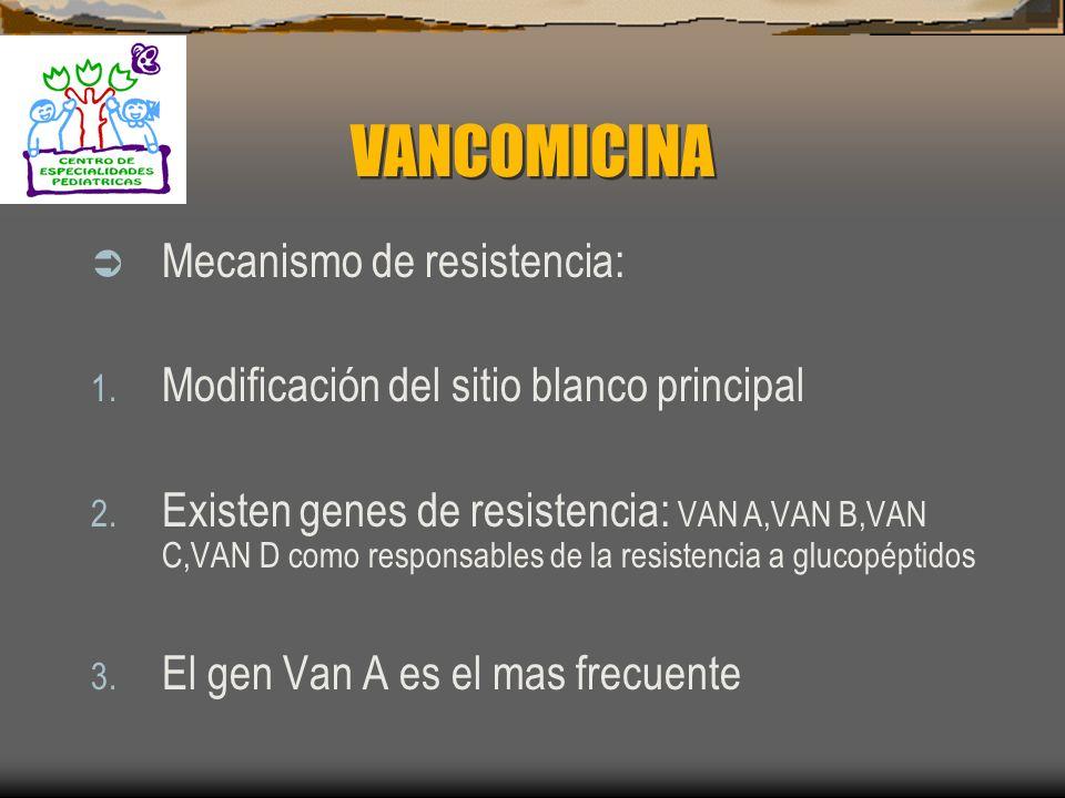 VANCOMICINA Mecanismo de resistencia: