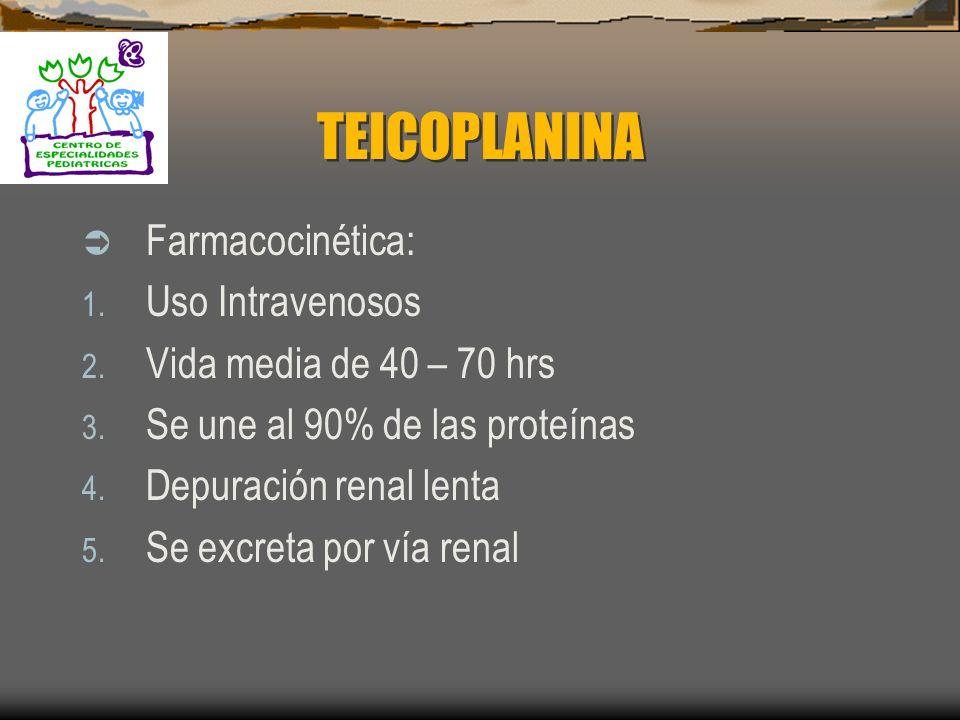 TEICOPLANINA Farmacocinética: Uso Intravenosos