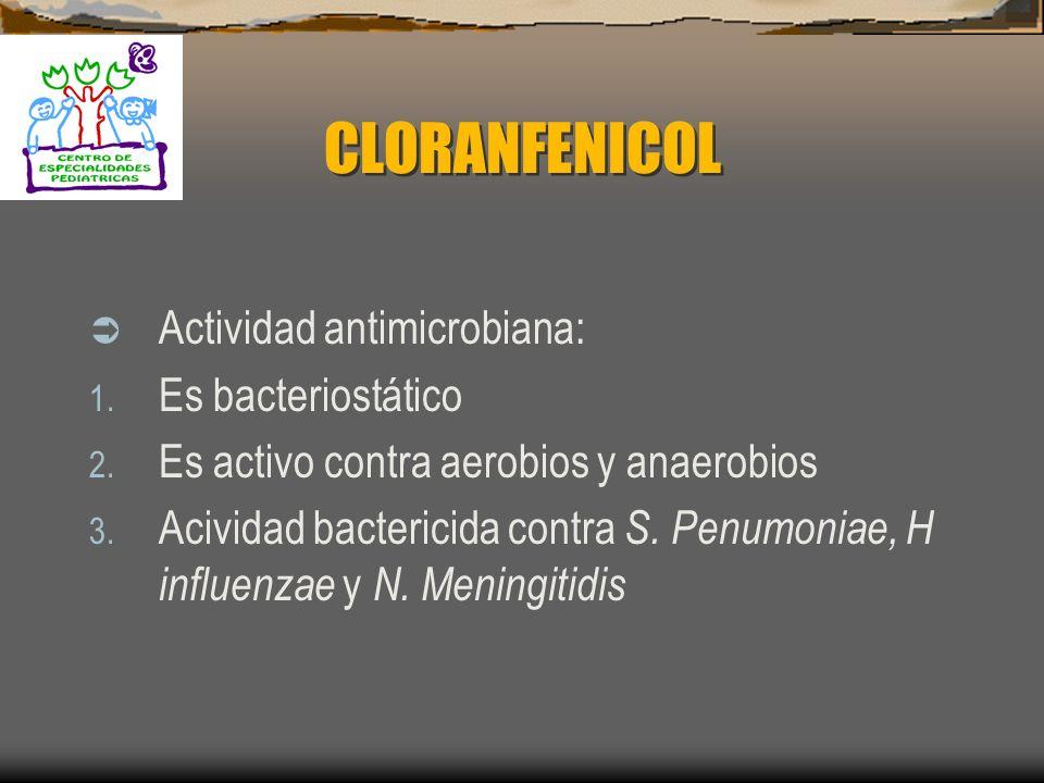 CLORANFENICOL Actividad antimicrobiana: Es bacteriostático