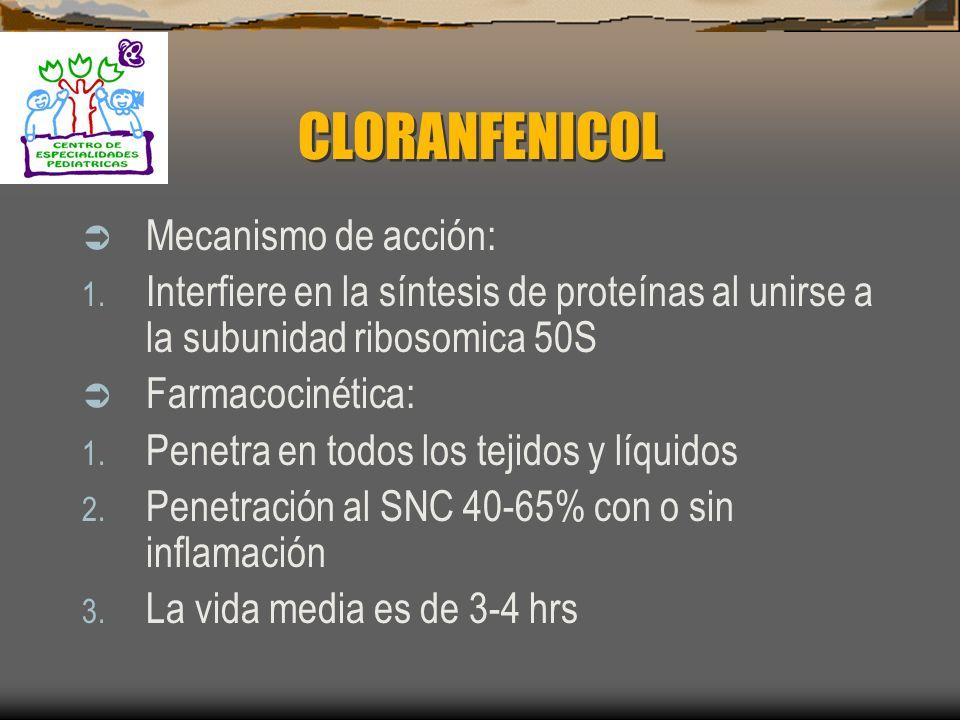 CLORANFENICOL Mecanismo de acción: