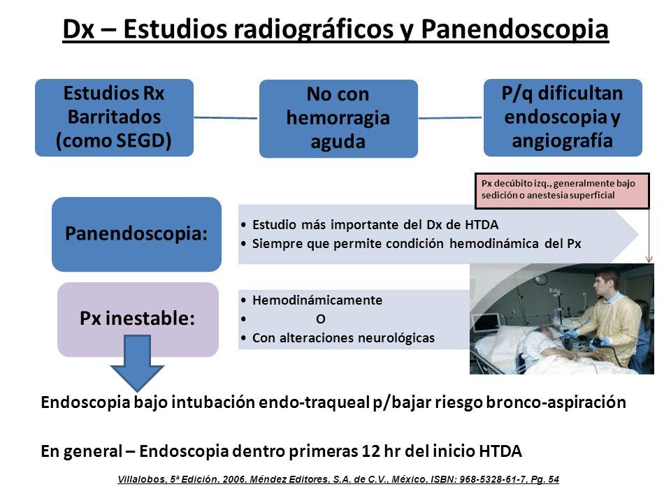 Dx – Estudios radiográficos y Panendoscopia