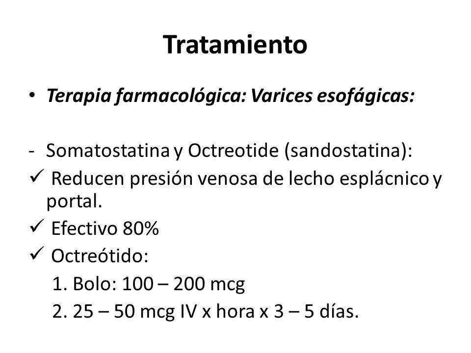 Tratamiento Terapia farmacológica: Varices esofágicas: