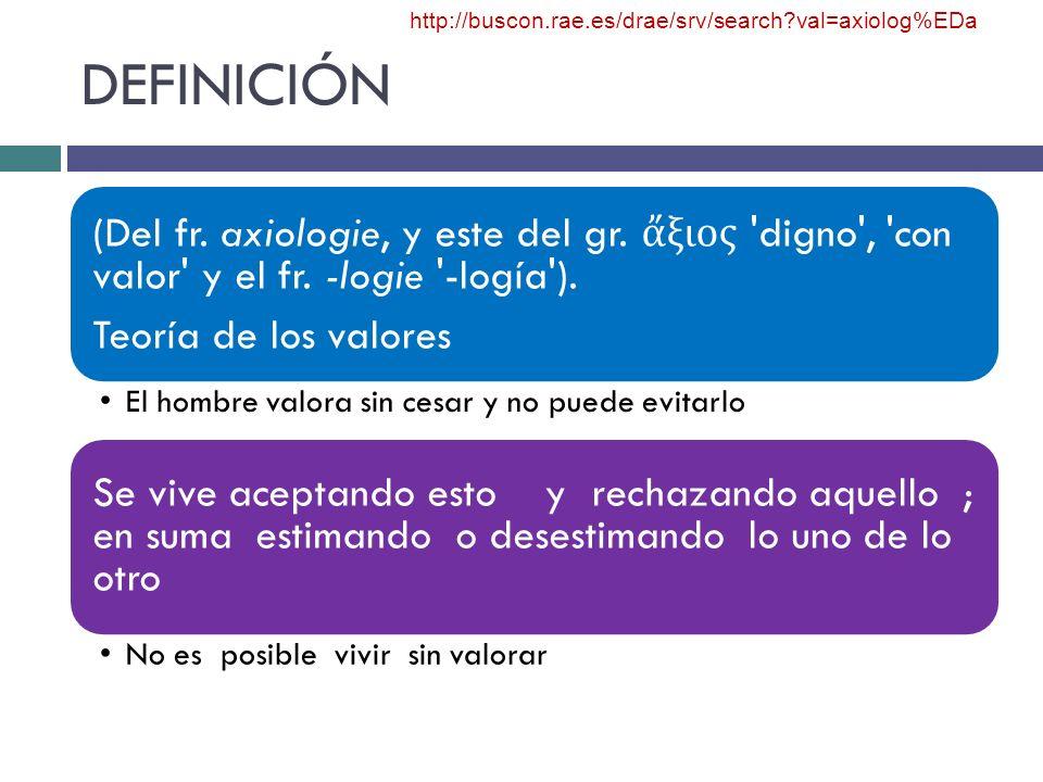 DEFINICIÓN http://buscon.rae.es/drae/srv/search val=axiolog%EDa