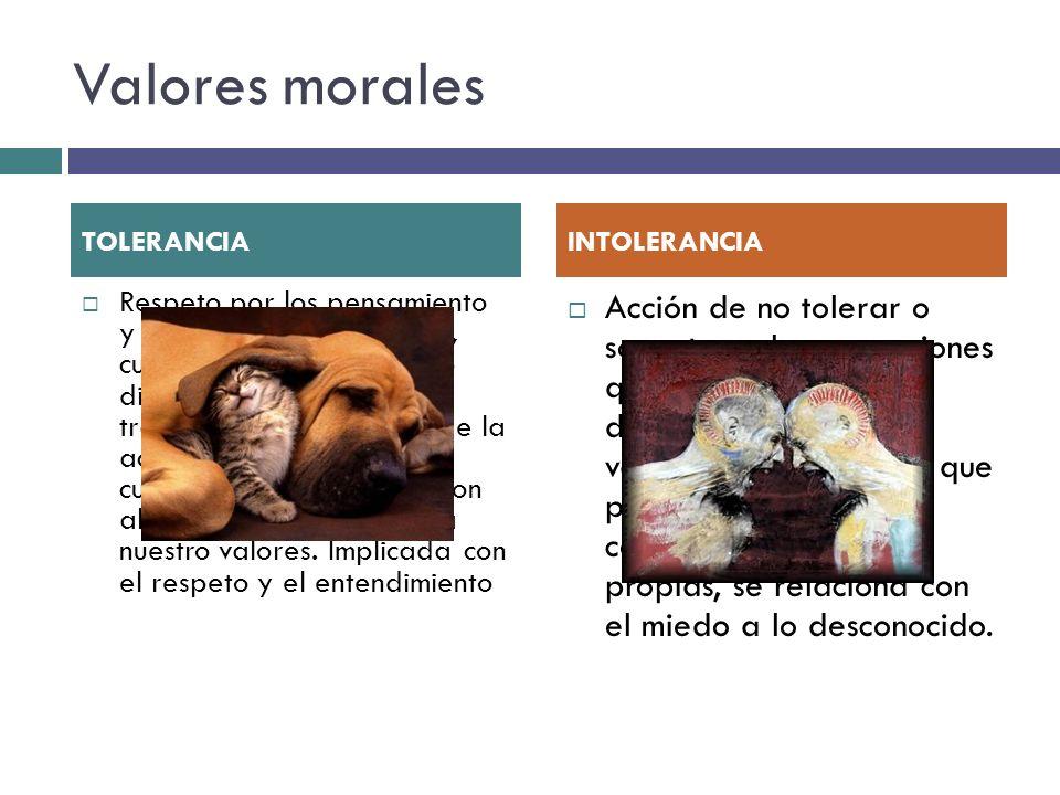 Valores morales TOLERANCIA. INTOLERANCIA.