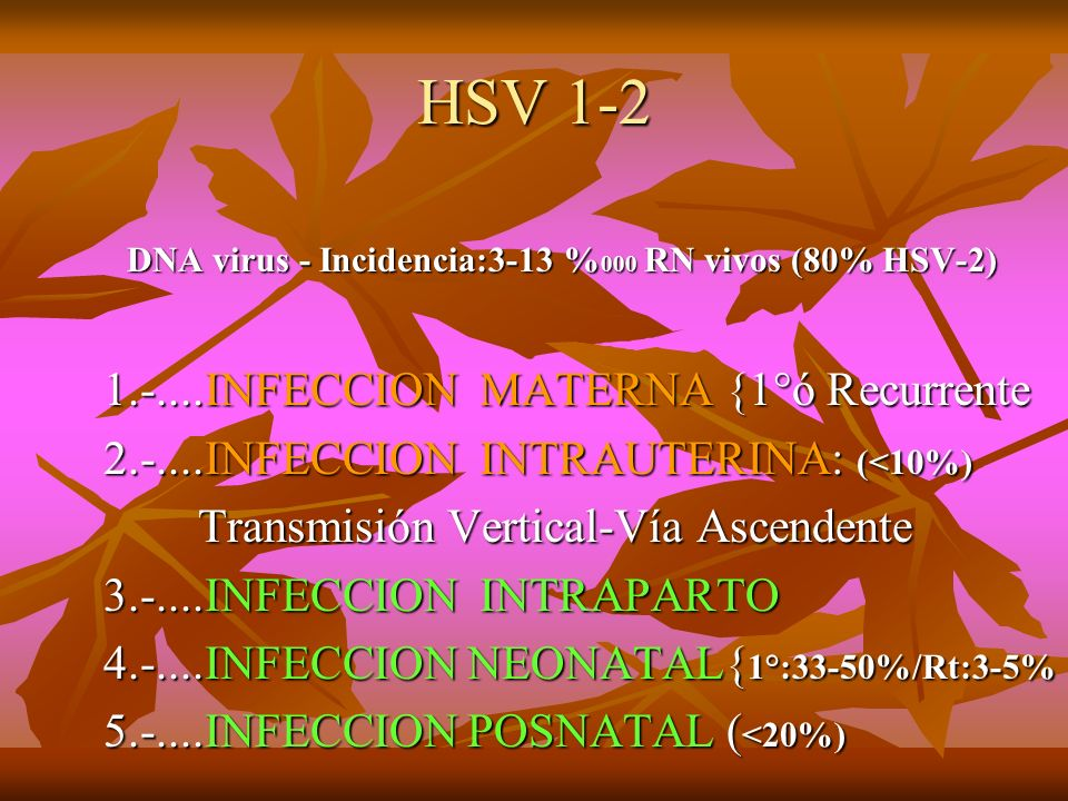 HSV 1-2 1.-....INFECCION MATERNA {1°ó Recurrente