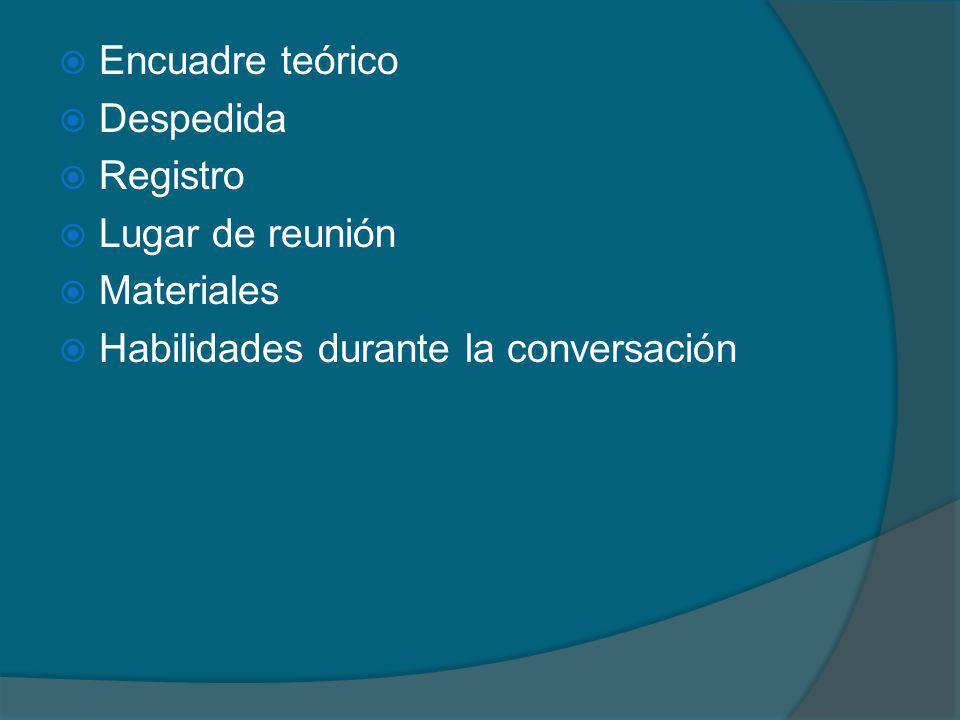 Encuadre teórico Despedida Registro Lugar de reunión Materiales Habilidades durante la conversación