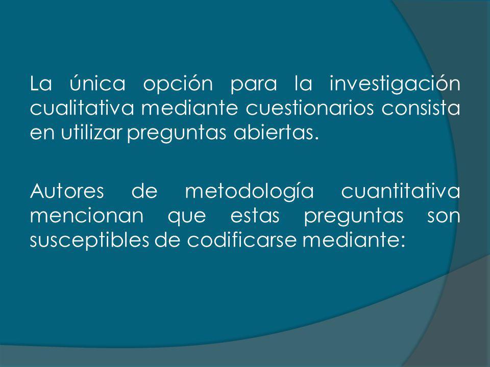 La única opción para la investigación cualitativa mediante cuestionarios consista en utilizar preguntas abiertas.