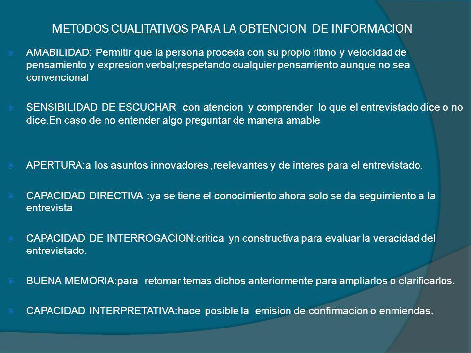 METODOS CUALITATIVOS PARA LA OBTENCION DE INFORMACION