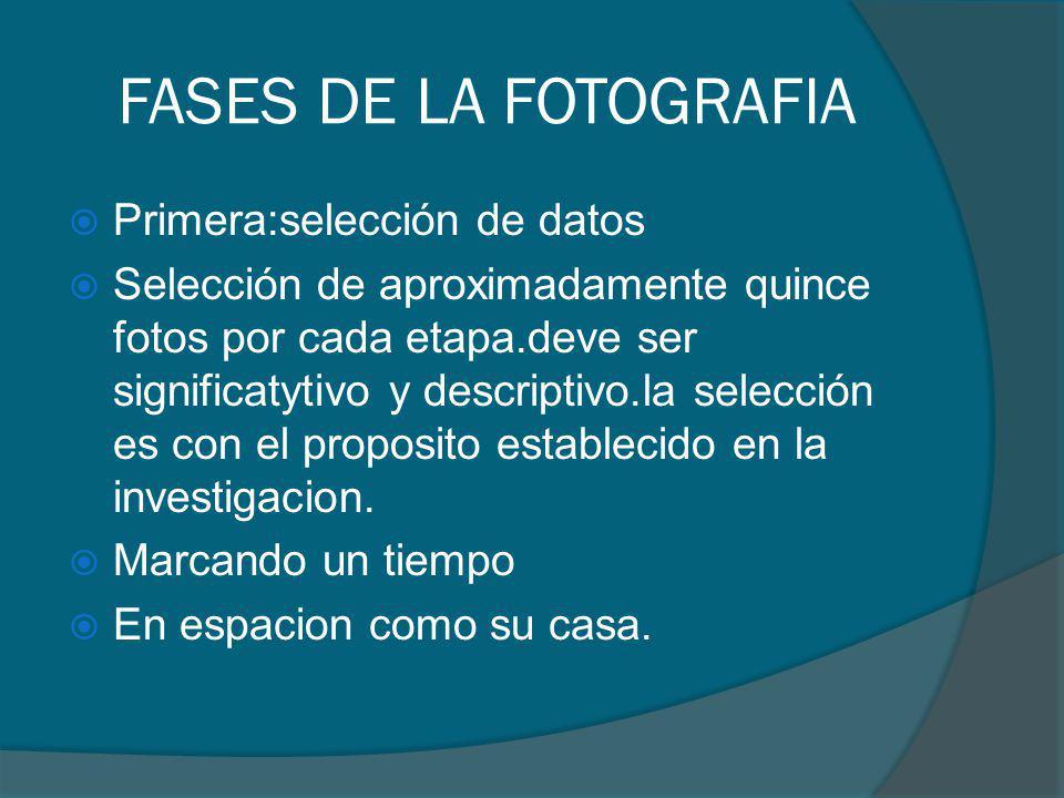 FASES DE LA FOTOGRAFIA Primera:selección de datos