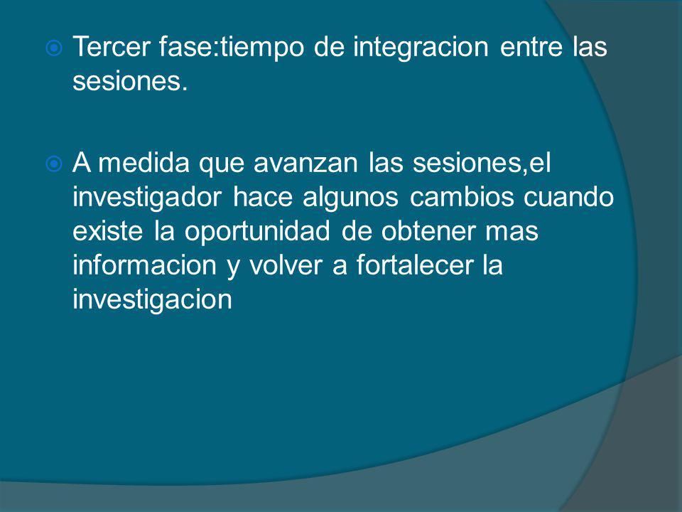Tercer fase:tiempo de integracion entre las sesiones.