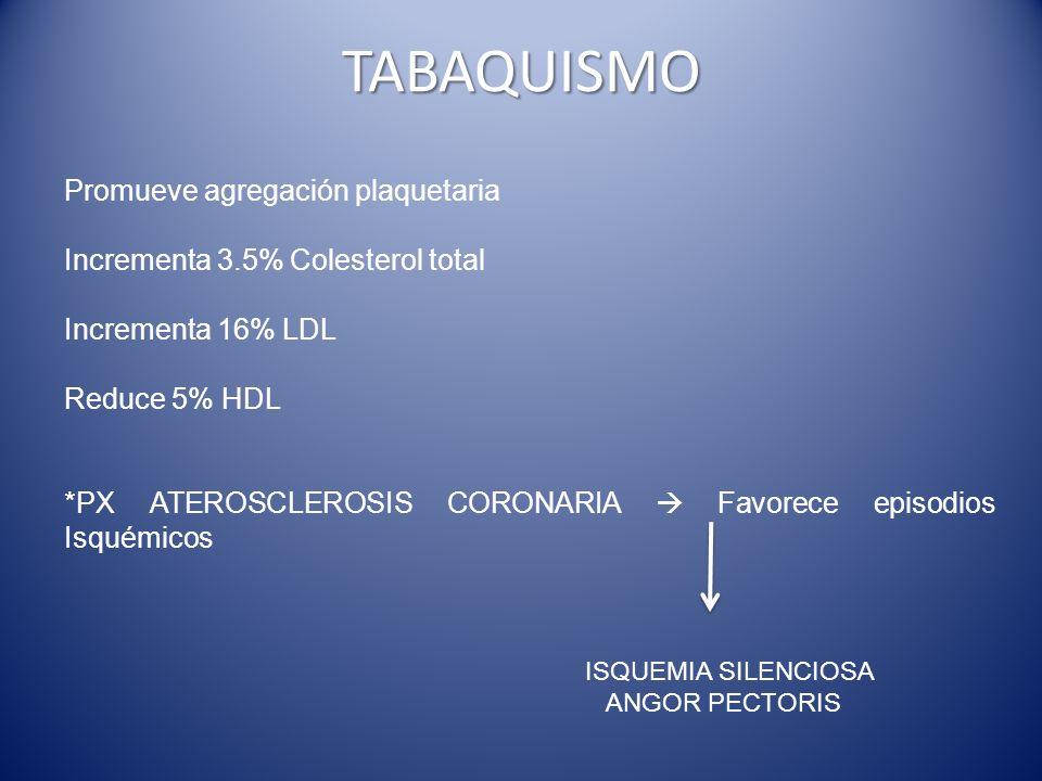 TABAQUISMO Promueve agregación plaquetaria