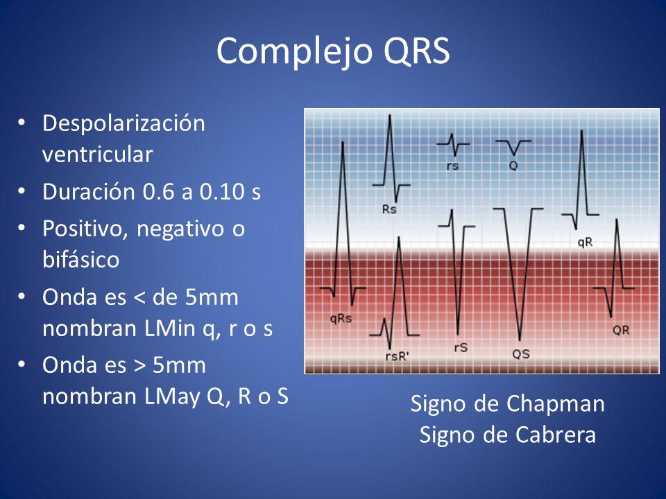 Complejo QRS Despolarización ventricular Duración 0.6 a 0.10 s