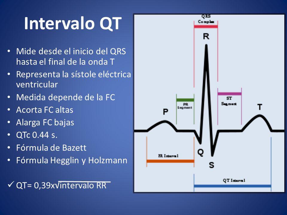 Intervalo QT Mide desde el inicio del QRS hasta el final de la onda T