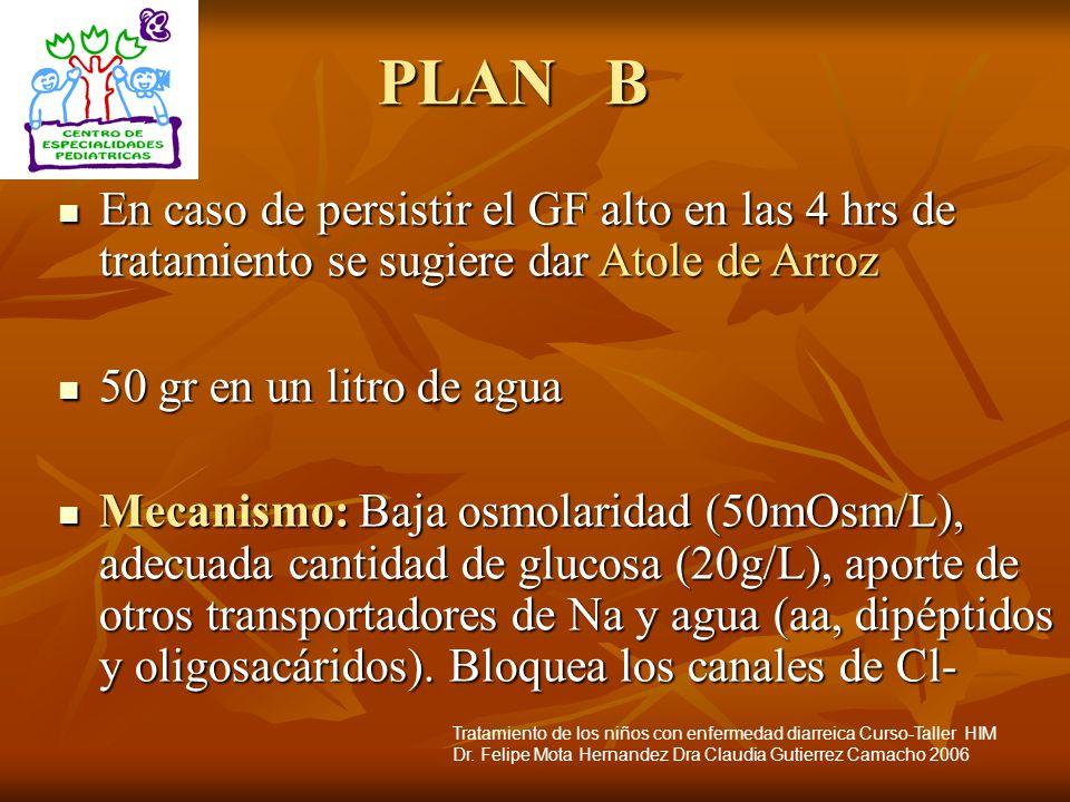PLAN B En caso de persistir el GF alto en las 4 hrs de tratamiento se sugiere dar Atole de Arroz.