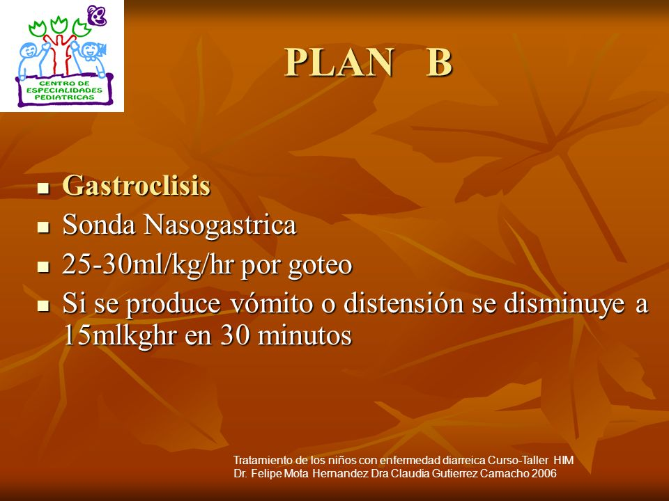 PLAN B Gastroclisis Sonda Nasogastrica 25-30ml/kg/hr por goteo
