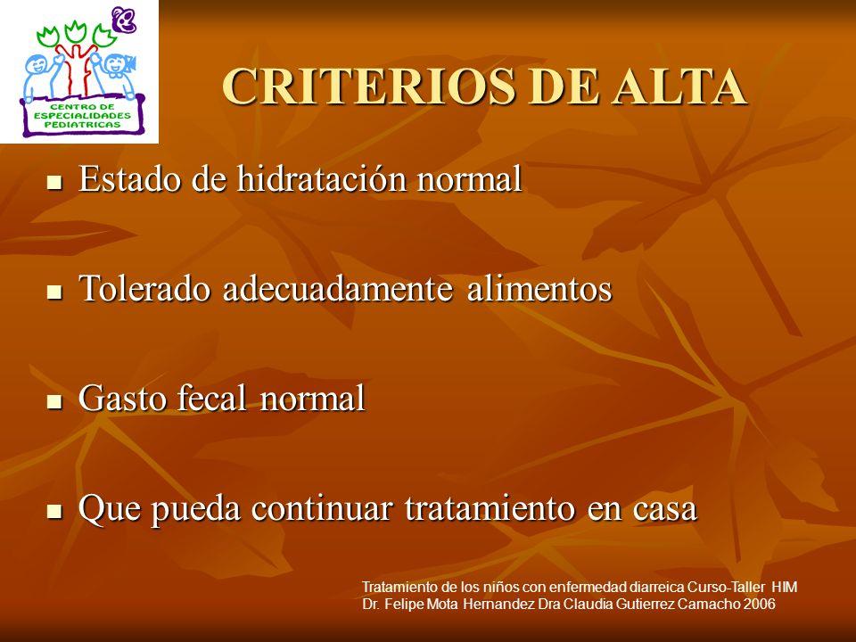 CRITERIOS DE ALTA Estado de hidratación normal