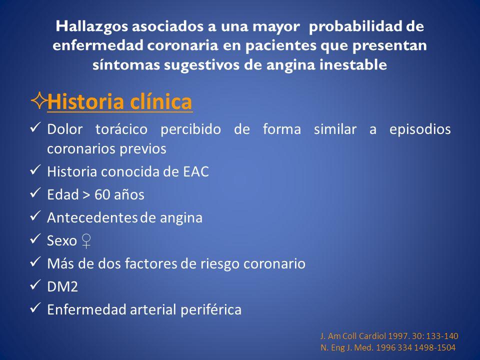 Hallazgos asociados a una mayor probabilidad de enfermedad coronaria en pacientes que presentan síntomas sugestivos de angina inestable