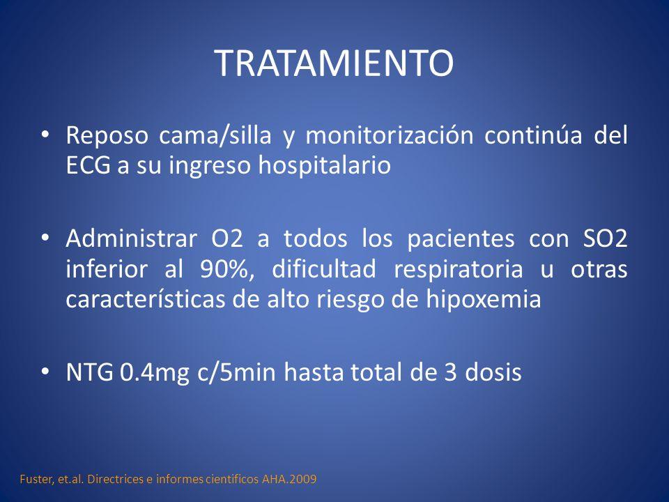 TRATAMIENTOReposo cama/silla y monitorización continúa del ECG a su ingreso hospitalario.