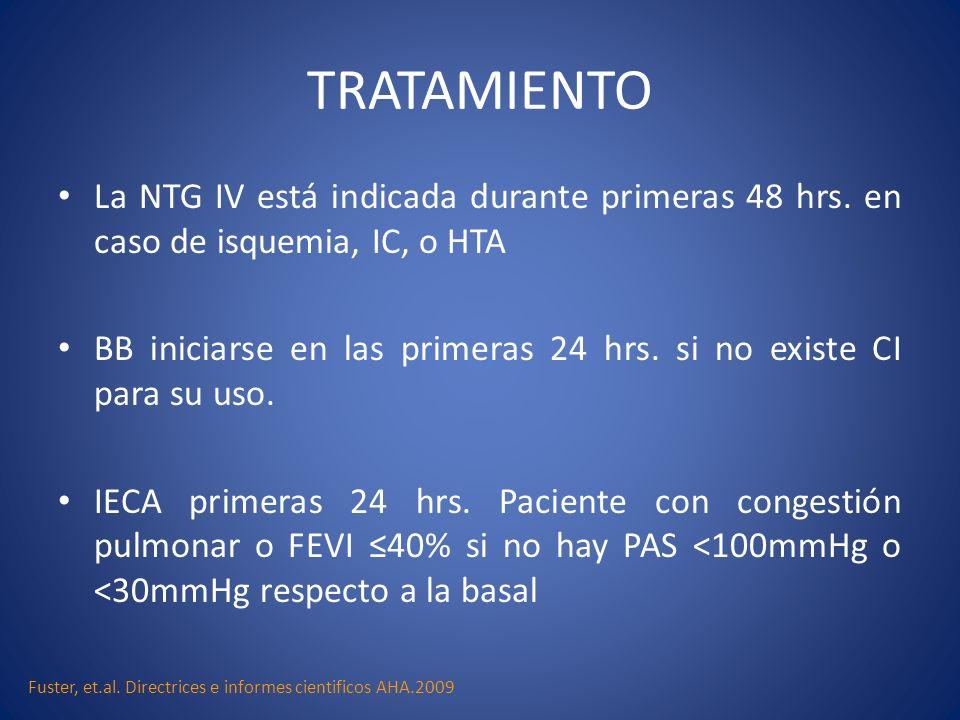 TRATAMIENTOLa NTG IV está indicada durante primeras 48 hrs. en caso de isquemia, IC, o HTA.
