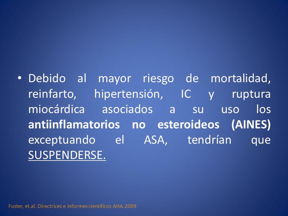 Debido al mayor riesgo de mortalidad, reinfarto, hipertensión, IC y ruptura miocárdica asociados a su uso los antiinflamatorios no esteroideos (AINES) exceptuando el ASA, tendrían que SUSPENDERSE.