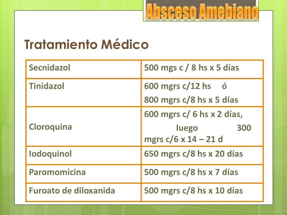 Absceso Amebiano Tratamiento Médico Secnidazol