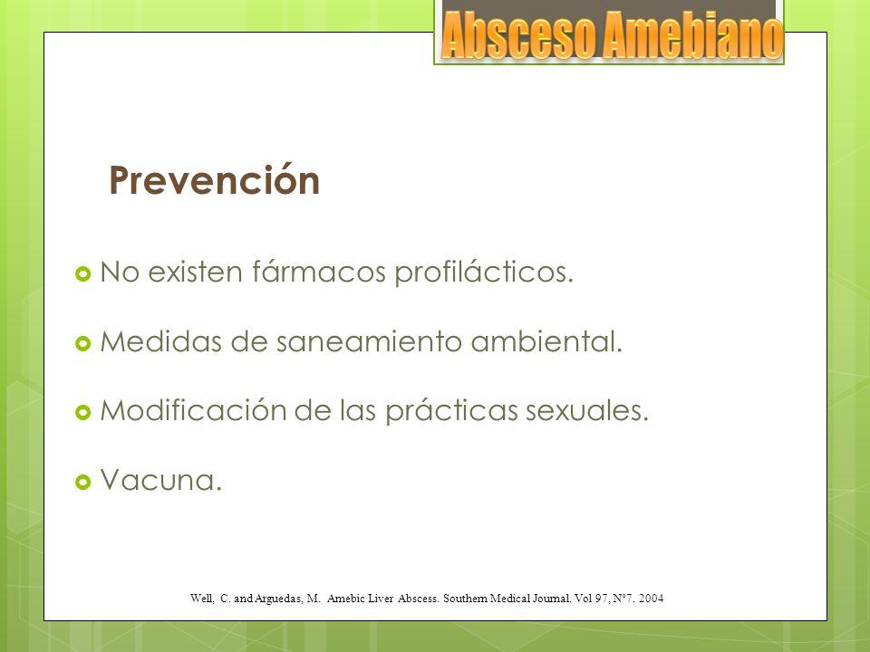 Absceso Amebiano Prevención No existen fármacos profilácticos.