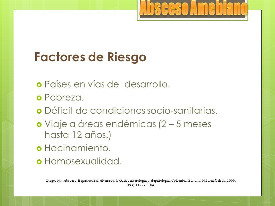 Absceso Amebiano Factores de Riesgo Países en vías de desarrollo.