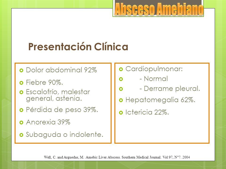 Absceso Amebiano Presentación Clínica Dolor abdominal 92% Fiebre 90%.
