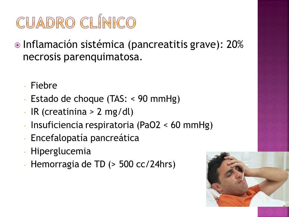 Cuadro clínico Inflamación sistémica (pancreatitis grave): 20% necrosis parenquimatosa. Fiebre. Estado de choque (TAS: < 90 mmHg)
