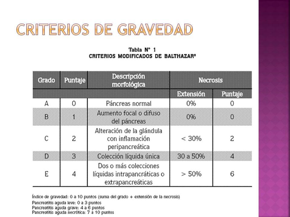 Criterios de gravedad