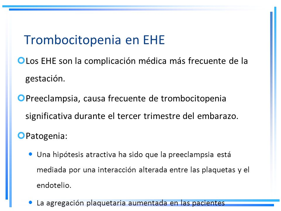 Trombocitopenia en EHE