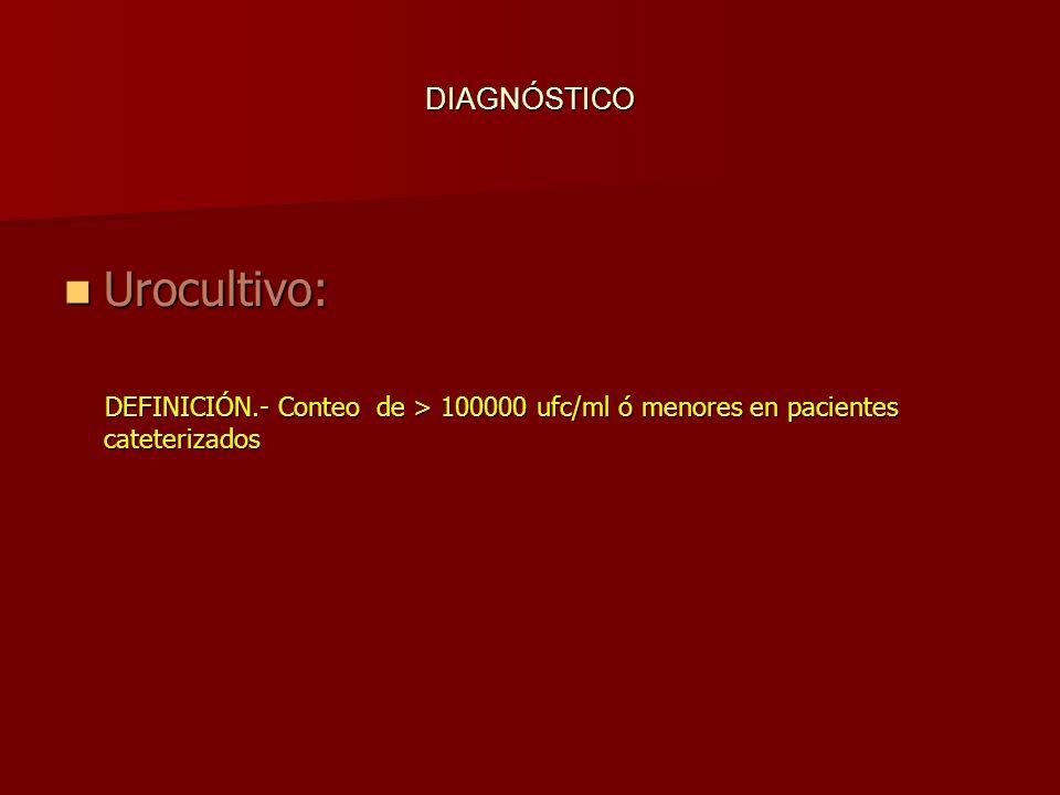 Urocultivo: DEFINICIÓN.- Conteo de > 100000 ufc/ml ó menores en pacientes cateterizados