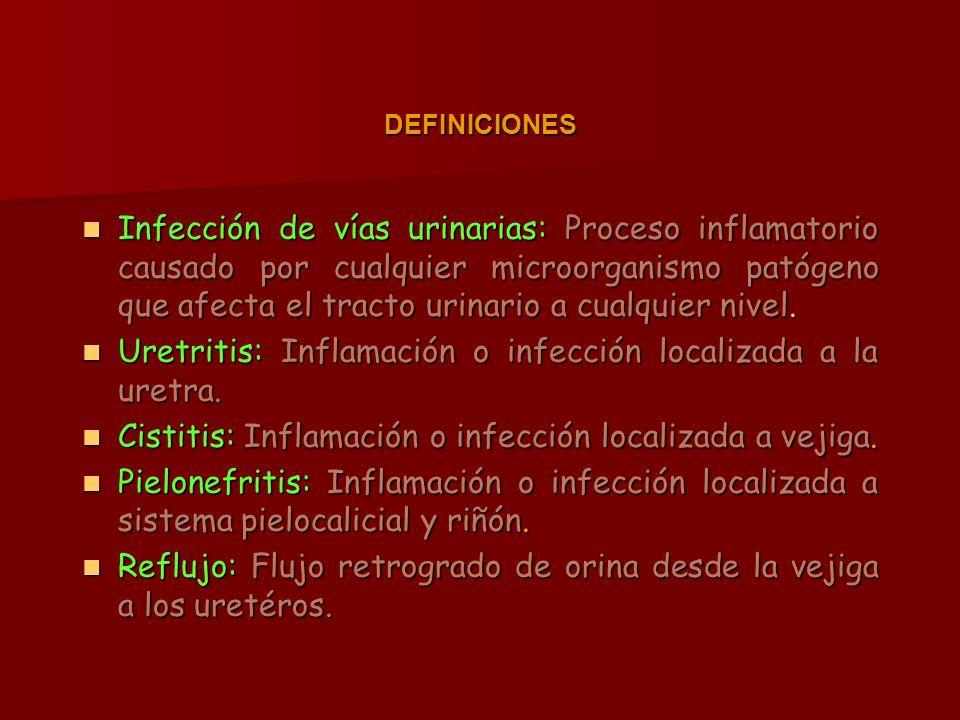 Infección de vías urinarias: Proceso inflamatorio causado por cualquier microorganismo patógeno que afecta el tracto urinario a cualquier nivel.